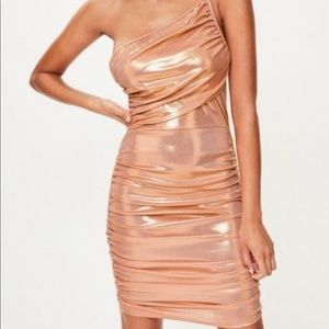 NWT Missguided Ruched Metallic Dress
